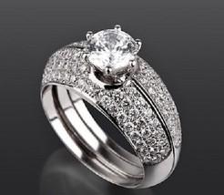 Women's Three Piece Engagement Ring Set 14k White Gold 925 Silver Round Cut CZ - $138.21