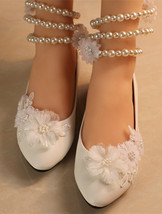 flower girl shoes ivory. womens white mary janes,comfortable crystal flats - $38.00