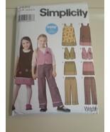 Simplicity 5489  Girls Jumper Pants Skirt Vest 3-8 UNCUT - $5.89