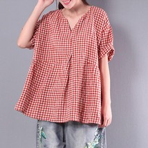 ZANZEA Women Summer Flouncing V Neck Short Sleeve Loose Pleated Party Bl... - $35.08