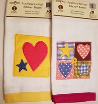 Kitchen Hand Towels set of 2 Velour Applique Patchwork Hearts Stars Red Yellow image 2