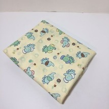"4 Yards Yellow with Blue Elephants Fabric 44"" wide JoAnn Fabrics Cotton - $24.18"