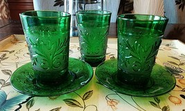 Forest Green Sandwich Glass Juice Glasses & Saucer Plates/Liners-Anchor ... - $19.99