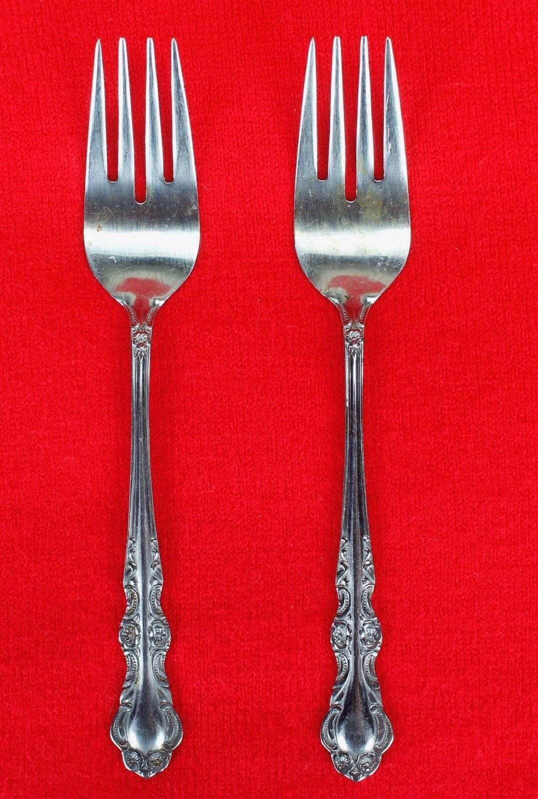 """2X Salad Forks EKCO Eterna Sandra Jeanne Stainless Glossy Flatware 6.5"""" Fork"""