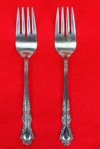 "2X Salad Forks EKCO Eterna Sandra Jeanne Stainless Glossy Flatware 6.5"" ... - $11.88"