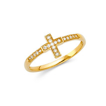 14K Solid Gold Religious Cross Cubic Zirconia Fancy Ring - $120.00