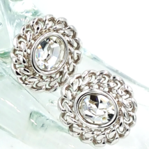 Swarovski Crystal Vintage Earrings With Rope Chain Detail and Swan Logo - $55.00