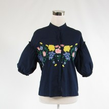 Navy blue yellow floral print 100% cotton AXEL button down blouse FR36 6 - $34.99