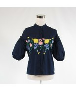 Navy blue yellow floral print 100% cotton AXEL button down blouse FR36 6 - $34.99