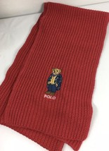 Polo Ralph Lauren Tudor Red Preppy Bear Classic Ribbed Scarf NWT - £47.70 GBP