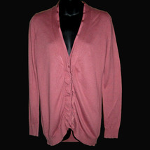 Sz M Ann Taylor Loft Purple Plum Mauve Pink Ruffle Front V Neck Cardigan... - $34.64