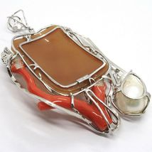 925 STERLING SILVER CAMEO CAMEO, WOMEN'S, BRANCH RED CORAL, FLOWERS, BUTTERFLY image 5