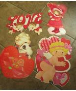 Vtg 4 Valentines Day cardboard Die Cut Eureka Personality Bears Cherubs - $15.00