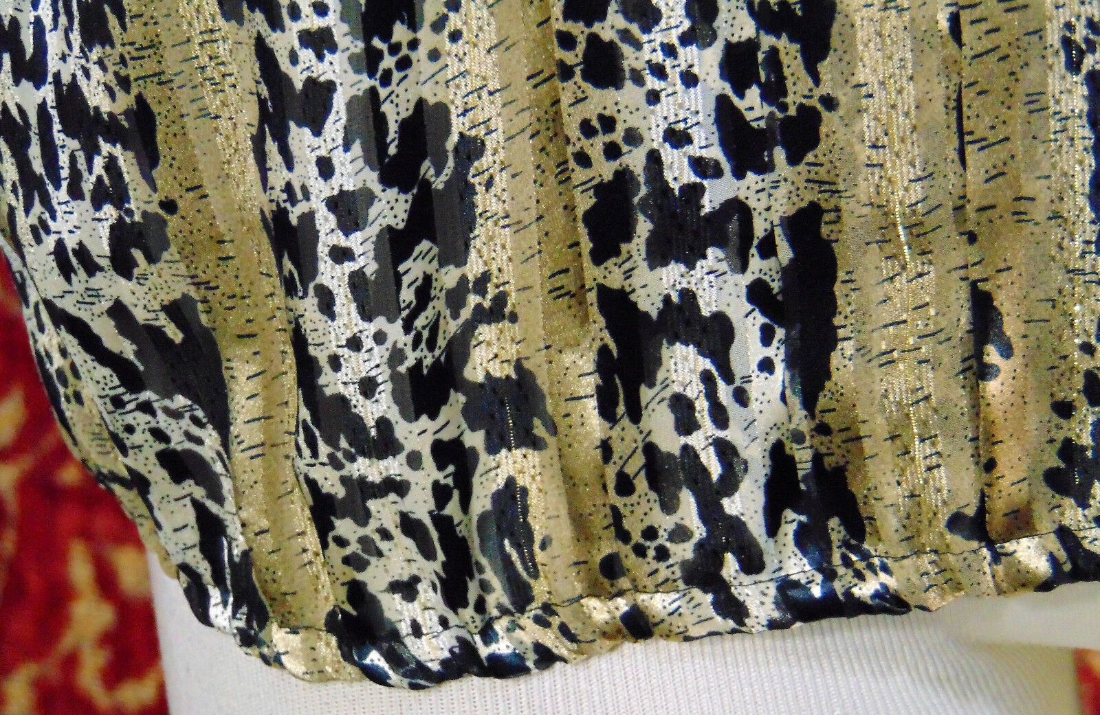 NICOLA Vintage 80s artsy animal polyester blouse 14 w/DEFECT (T42-02I8G) image 3
