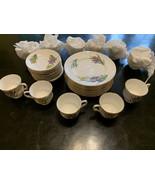 Staffordshire Iris England 34 Pieces Cups, Saucers, Plates Fine Bone China - $195.00