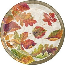 Colors of the Wind Thanksgiving Fall Leaves 8 Ct Dessert Paper Plates - $3.47