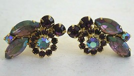 VTG Rhinestones Earrings Large Purple Borealis Stones Clip On Made into ... - $10.55