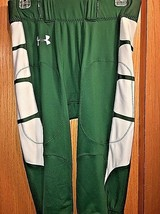 Men's Authentic UNDER ARMOUR Game Football Green Silver Pant Size Large - $108.90