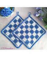 2 Potholders Cotton Crochet Blueberry & White Buffalo Checked Farm House... - $16.99