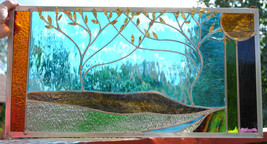 Stained Glass Window Panel  mountain valley trees turquoise gold purple - $179.00