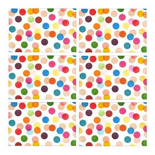 InterestPrint Funny Multicolored Polka Dots Polyester Fabric Placemat Plate Mat