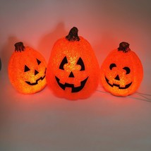 Lot of 3 Seasons Electric Melted Popcorn Plastic Pumpkin Lights JOL Hall... - £30.62 GBP