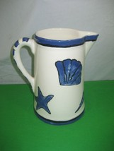 Porcelain Water Pitcher Hand Painted Blue on White 97 - $11.26