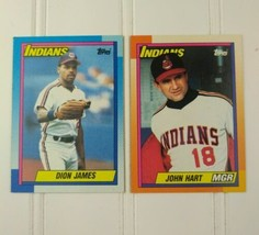 Topps Baseball Cards Lot Of 2 1990 Cleveland Indians Cards John Hart Dio... - $10.00