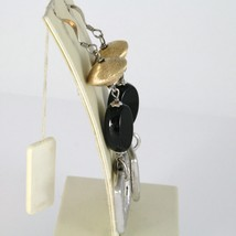 925 STERLING SILVER PENDANT EARRINGS WITH OVAL BLACK ONYX, WORKED SQUARE, SATIN image 2