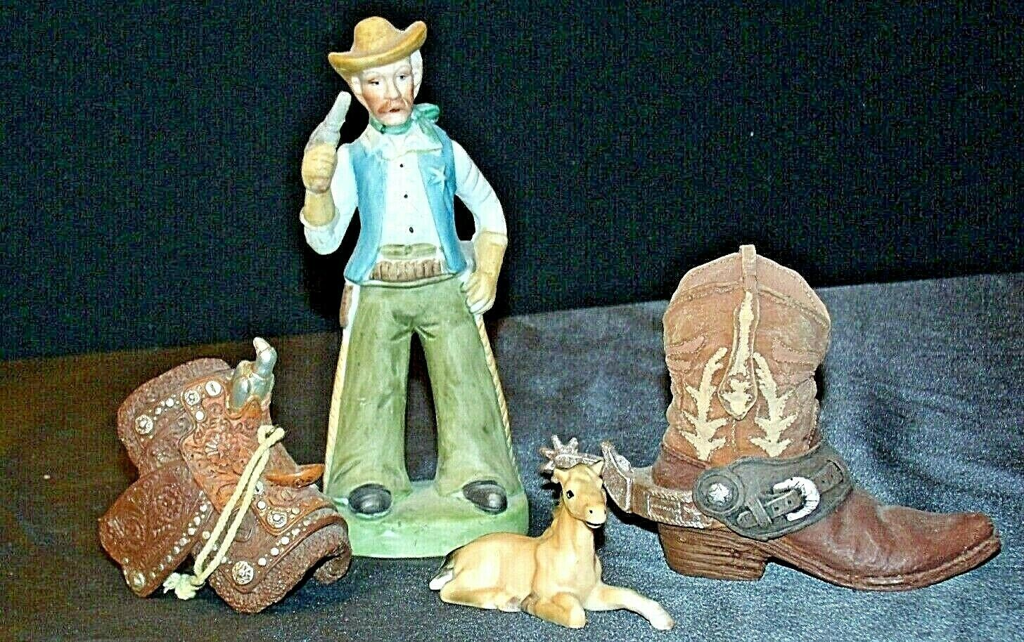 Cowboy Figurine with a Saddle, Cowboy Boot and a Colt figurines AA20-2078 Vintag