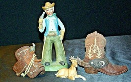 Cowboy Figurine with a Saddle, Cowboy Boot and a Colt figurines AA20-2078 Vintag image 1