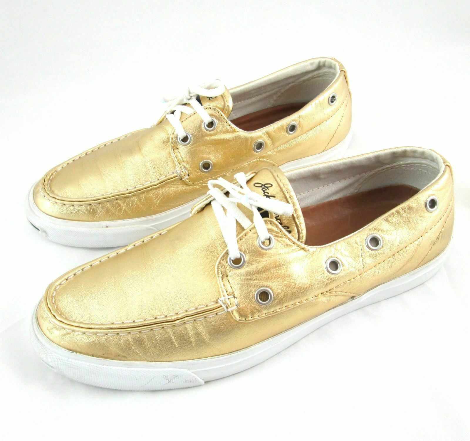 Jack Purcell Gold Leather Slip On Boat Shoes Womans 9 Metallic Limited Edition