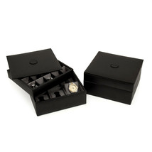 Bey Berk Black Leather Stacked Valet for 6 Watches & 20 Cufflinks with Lid - $66.83
