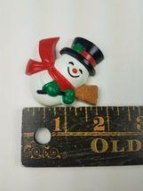 Vintage Hallmark Christmas Magnet 1989 Snowman w/ Top Hat & Broom image 3