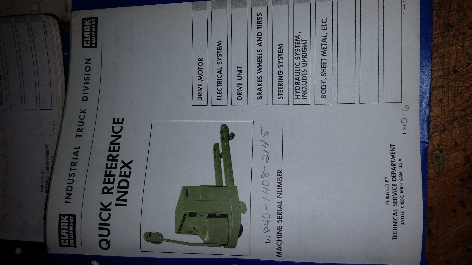 Clark electric pallet jack powrworker quick reference index maintenance manuals