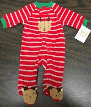 Nwt Carters Fleece Sleeper Reindeer Sz Newborn Just One You - $6.16