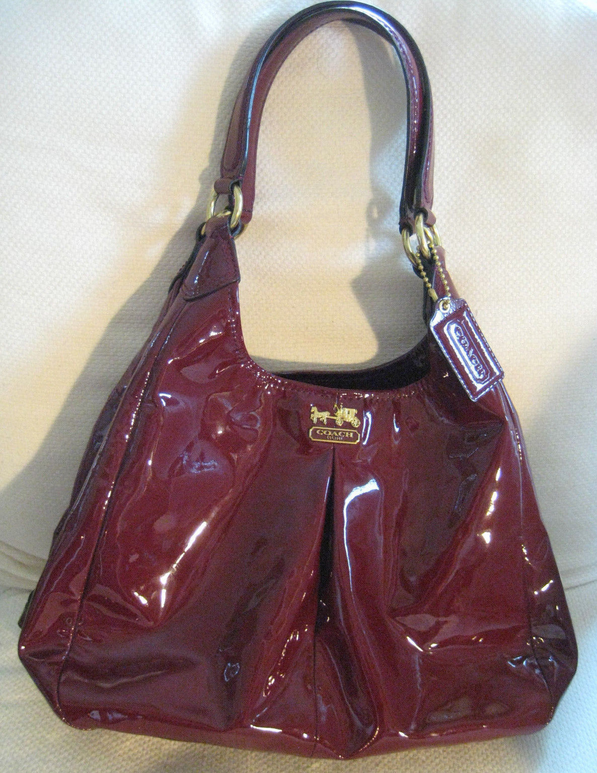 1999645d4c 57. 57. Previous. AUTH COACH Red Patent Leather Handbag 21238 Madison ...