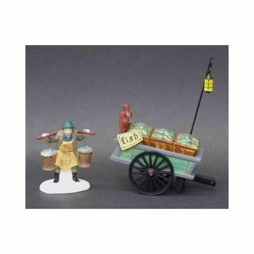 Primary image for Dept 56 Dickens Snow Village  Chelsea Market Fish Monger & Cart Set of 2 58149