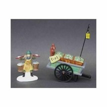 Dept 56 Dickens Snow Village  Chelsea Market Fish Monger & Cart Set of 2... - $52.08