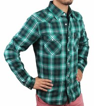 Levi's Men's Classic Western  Button Up Long Sleeve Plaid Green 3Lylw0062 image 2