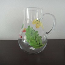 New Hand Painted Glass Pitcher - $12.59