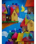 Magic City Abstract Original Oil Painting Fantasy Cats on Roofs Nursery Fine Art - $120.00