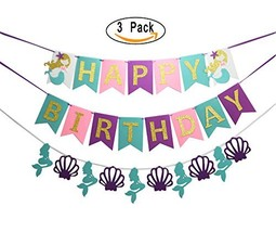 3 PCS Mermaid Under the Sea Happy Birthday Banner for Birthday Party Dec... - $11.06
