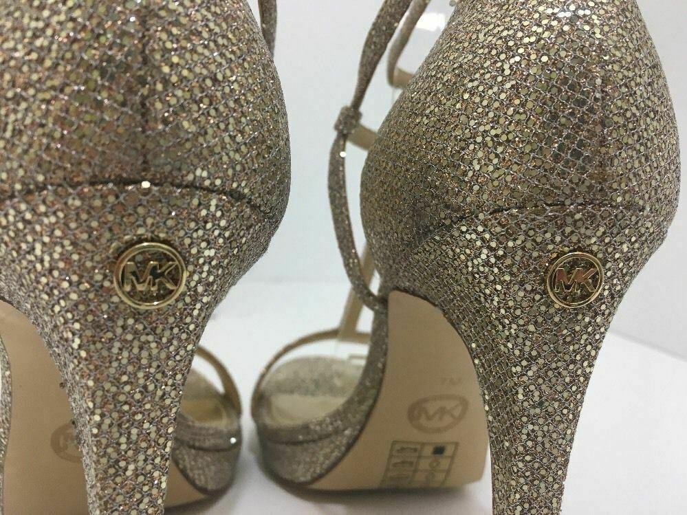 Michael Kors Simone Women's Evening High Heels Sandals Silver Sand Glitter 7 M image 5