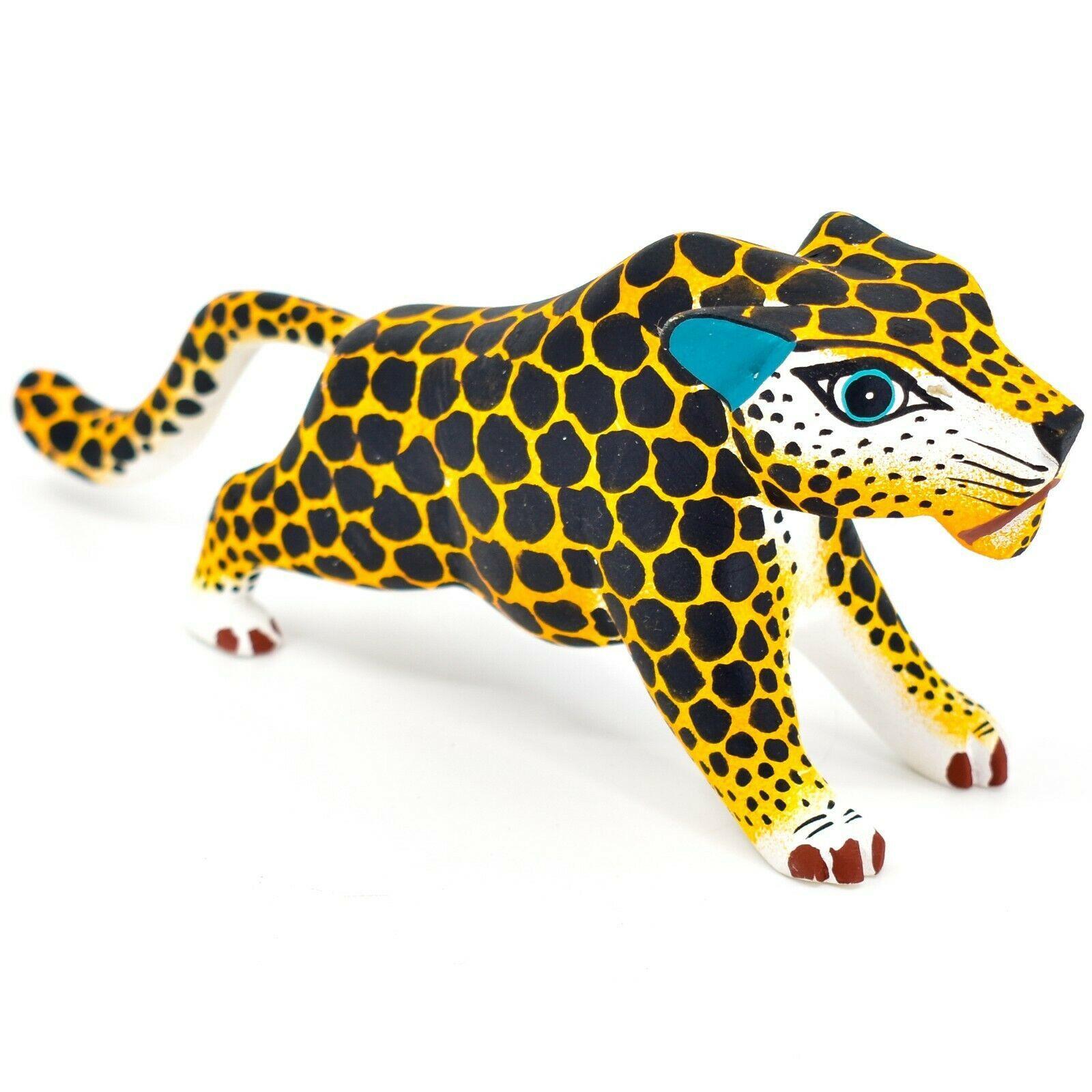 "Handmade Alebrijes Oaxacan Painted Wood Folk Art Leopard Jaguar 7"" Figurine"