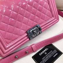 AUTHENTIC CHANEL PINK QUILTED GLAZED CALFSKIN MEDIUM BOY FLAP BAG RHW image 8