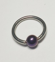 """Captive Nipple Ear Ring 14 Gauge 1/2"""" w/Purple 5mm Ball Steel Body Jewelry - $7.49"""