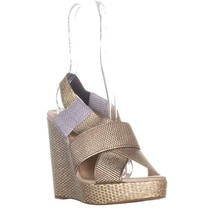 Lucky Brand Rishi Slingback Wedge Sandals, Platinum Combo, 10 US / 40 EU - $63.35