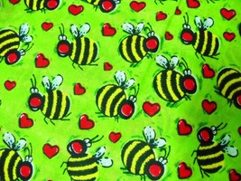NEW THICK HOT LIME GREEN CUTE BUMBLE BEE / BEES & HEARTS BANDANA HEAD WRAP - $4.50