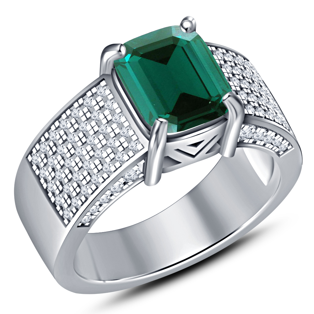 Engagement Band Ring Rectangular Shape Green Sapphire White Gold Over 925 Silver